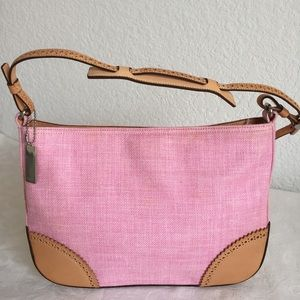 Coach pink fabric and leather trim bag